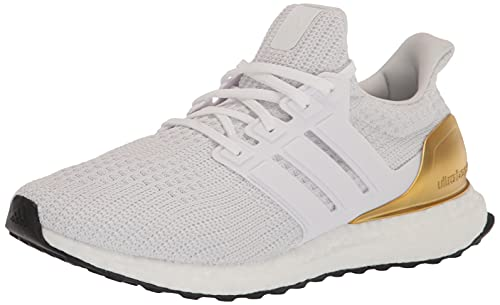 adidas Men's Ultraboost 4.0 DNA Trail Running Shoe, White/White/Gold Metallic, 9