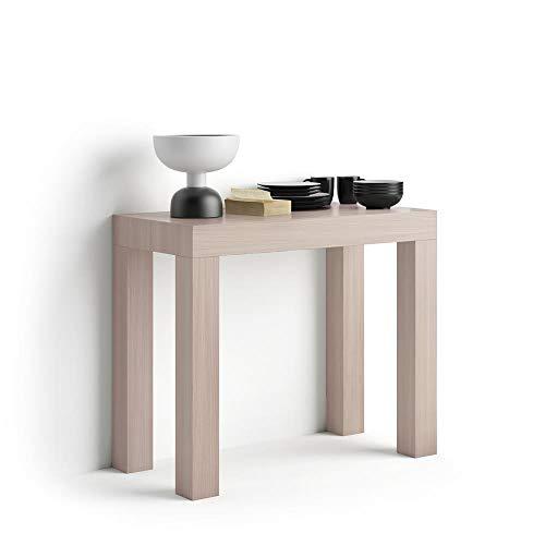 Mobili Fiver, Tavolo Consolle Allungabile First, Olmo Perla, 90 x 45 x 76 cm, Nobilitato/Alluminio, Made in Italy, Disponibile in Vari Colori