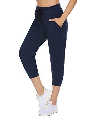 COOrun Pantaloni da jogging da donna a 3/4, elasticizzati, per fitness, con tasche, blu navy, M