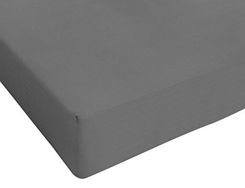 Italian Bed Linen Max Color Lenzuolo sotto a 1 Piazza e Mezza, 100% Cotone, Fumo, Posto e Mezzo