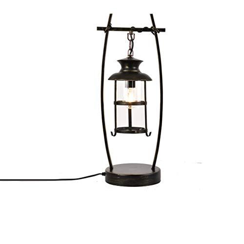 American Retro Lamp Creative Coffee Bar Sala de estar Dormitorio Hierro forjado Personalidad Lámpara de mesa Lámpara de pie (negro) (Color : Black, tamaño : Push button switch)