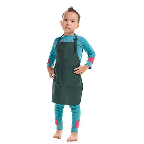 LissomPlume Kind Malschürze Kunstkittel Kinderschürze Arbeitsschürze Painting Bastelschürze Werkenschürze - dunkelgrün