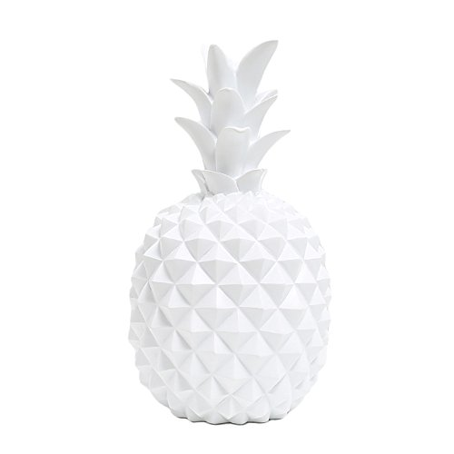 WAIT FLY 5.5 x 9.5 Inch Elegant Pineapple Shape Resin Piggy Bank Coin Bank Money Bank Best Gifts for Friends Kids Home Decoration, White