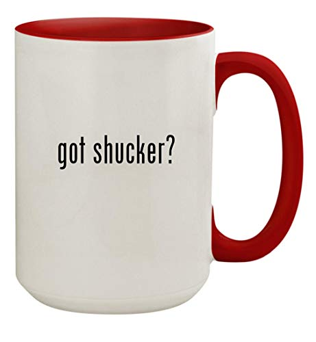 got shucker? - 15oz Ceramic Colored Inside & Handle Coffee Mug Cup, Red