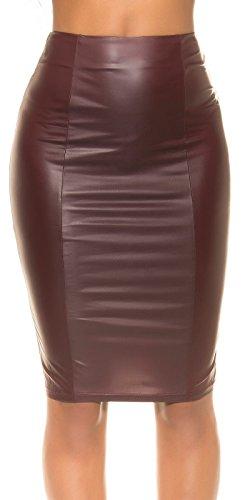 Koucla Wetlook Pencil Skirt - Potlood Rok Leather Look met Zip Black Bordeaux S, M, L