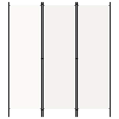 vidaXL Raumteiler Klappbar Freistehend Trennwand Paravent Umkleide Sichtschutz Spanische Wand Raumtrenner 3-TLG. Weiß 150x180cm Eisen Stoff