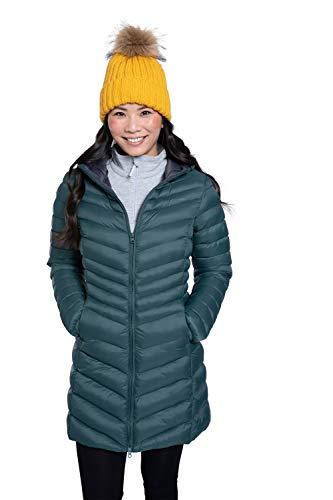 Mountain Warehouse Florence Womens Winter Long Padded Jacket - Water Resistant Rain Coat, Lightweight Ladies Jacket, Warm, 30C Heat Rating - for Outdoors, Walking Dark Green 10