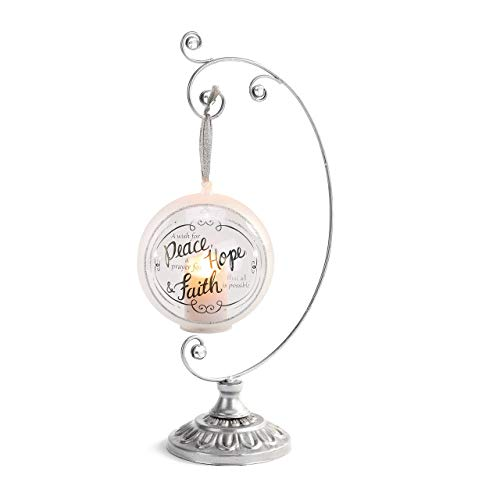 DEMDACO Ornate Curved Silver Tone 14 x 4 Iron Metal Holiday Ornament Display Stand