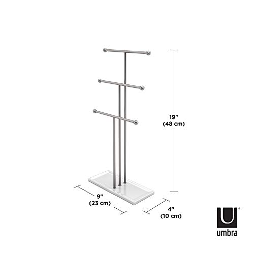 Umbra 299330-491-REM Trigem Hanging Organizer – 3 Tier Table Top Necklace Holder, Box Display with Jewelry Tray Base, One Size, Nickel