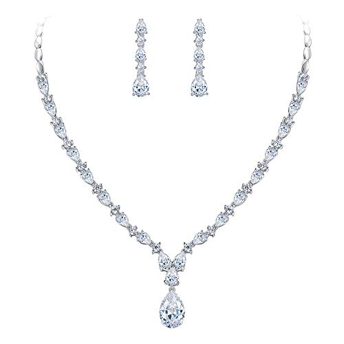 EVER FAITH Silver-Tone Cubic Zirconia Charming Water Drop Bridal Pendant Necklace Earrings Set Clear
