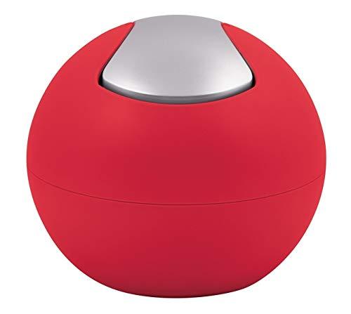 Spirella Kosmetikeimer 1 Liter Abfalleimer Schwingdeckeleimer Tischabfalleimer Bowl Rot matt