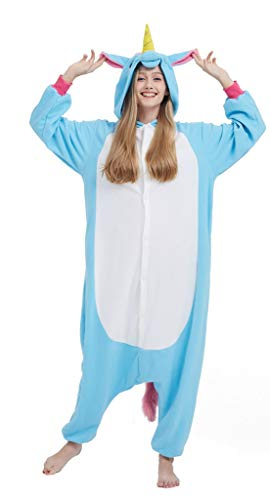 Pijama Unicornio Onesie Adultos Mujer Cosplay Animal Disfraces Halloween Carnaval Cosume Azul M