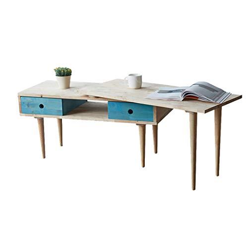 Tables basses Petite Table en Bois Massif Table d'ordinateur Table d'ordinateur Salon Minimaliste Moderne Petite Table à thé tiroir Table (Color : Beige, Size : 165 * 40 * 48cm)