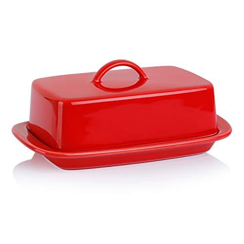 Sweese 312.104 Butterdose Porzellan, Klassische Butterschale für 250 g Butter, Rot