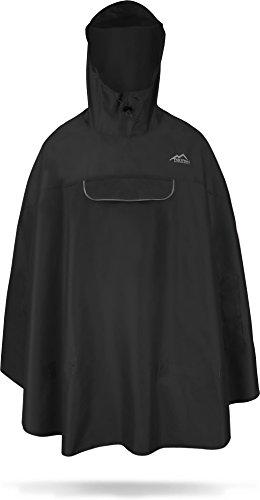 normani Premium Wasserdichter Regenponcho Poncho mit Kapuze und seitlichen Einschubtaschen - KleinesPackmaß - Fahrradponcho Regenmantel Unisex [S-3XL] Farbe Schwarz Größe S/M