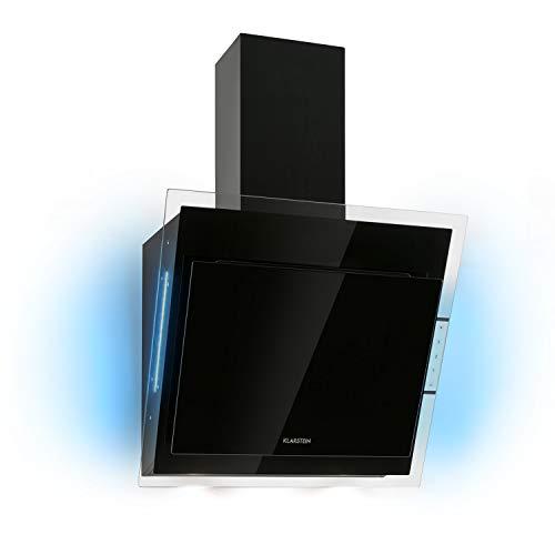 Klarstein Mirage Dunstabzugshaube Kopffrei, Kopffreihaube Wandhaube, Abluftleistung: 550 m³/h, Touch-Panel, Eco-Excellence, RGB-Ambiente-Licht, Glas, 60 cm, schwarz