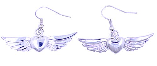 Lizzyoftheflowers - Zilveren hart met vleugels, haak oorbellen. Klassiek tattoo-design. Harten die vliegen