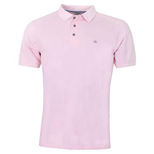 Calvin Klein Campus Herren Polo-Shirt mit 3 Knöpfen, leicht, gerippter Kragen Gr. L, Babypink
