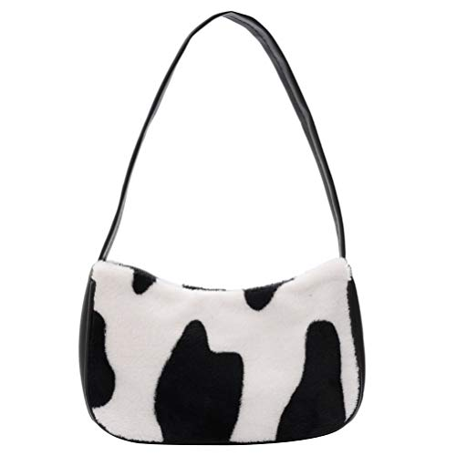 VALICLUD Bolso de Hombro para Mujer Mini Furry Handbag Underarm Purse Cow Print Clutch Bag Faux Fur Purse