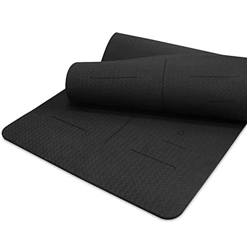 MWYS Esterilla de yoga de TPE de 10 mm de grosor de 80 cm con línea de posición antideslizante almohadilla de ejercicio con correa para el hogar (color: negro)