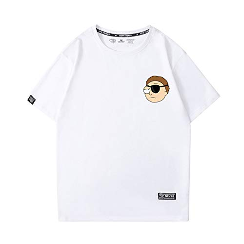 GRTBNH Camisetas de Verano para Hombre Rick y Morty de AlgodóN Ligero Unisex de Manga Corta para Adultos,White 1,S