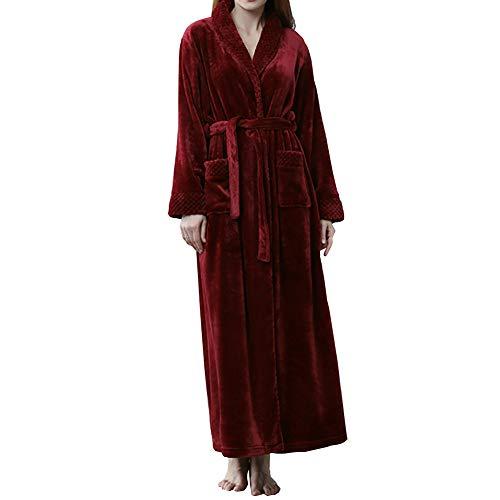 GODGETS Kimono Mujer Batas Hombre Albornoz de Forro Polar baño Toallas Ducha Invierno,Mas Suave Comodo y Agradable Vino Rojo XL