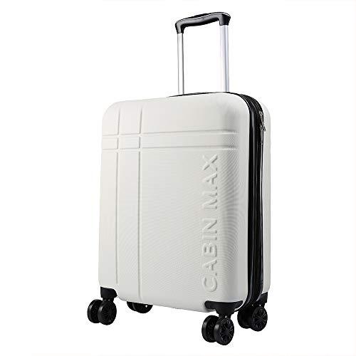 Cabin Max Velocity - Maleta para Equipaje de Cabina Ligera | Trolley de ABS con Ruedas de 55 x 40 x 20 cm Extensible a 55 x 40 x 25 cm Aprobado para Vuelo en Ryanair, EasyJet, BA (Blanco Polar)