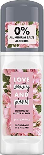 Love Beauty And Planet Pampering Deo Roll-On für die Achselpflege Murumuru Butter & Rose ohne Aluminium, 1 Stück (50 ml)