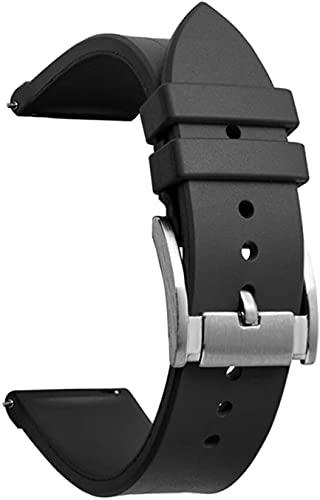 PINGZG Correa de Silicona, Correa de Reloj de Goma de 20 mm de 22 mm. (Color : Black, Size : 20mm)