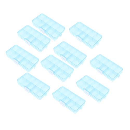 Baoblaze 10 x 36 Grid Boîte à Bijoux, pour Boucles d'oreilles Collier Bracelets de Bijoux Organiseur 10 Grid - Bleu