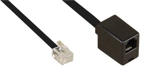 InLine 18832 telefoonkabel 2 m zwart – telefoonkabel (2 m, RJ12, RJ12, zwart, mannelijk, vrouwelijk aansluiting)