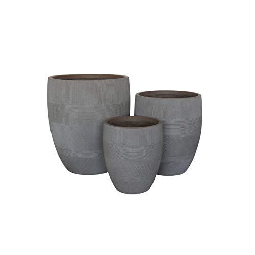 Vasi per Piante Rotondi da Interno Ed Esterno Set da 3 Dimensioni Moderni Vaso di Design in Resina Colore Taupe, G.43,5 X 43,5 X 50 M.35,5 X 35,5 X 41 P.27 X 27 X 32