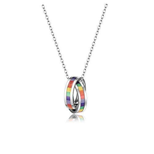 Jovivi LGBT Arcobaleno Rainbow Collana Ciondolo Anello in Acciaio Inox da Uomo Donna per Gay e Lesbiche Orgoglio