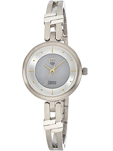 ETT Eco Tech Time Reloj solar analógico para mujer con correa de titanio ELT-12114-45M