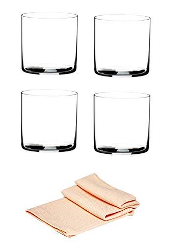 Riedel O Wine Tumbler 0414/01 Wassergläser 4 er Set im Dekomiro Set mit Glasreinigungstuch