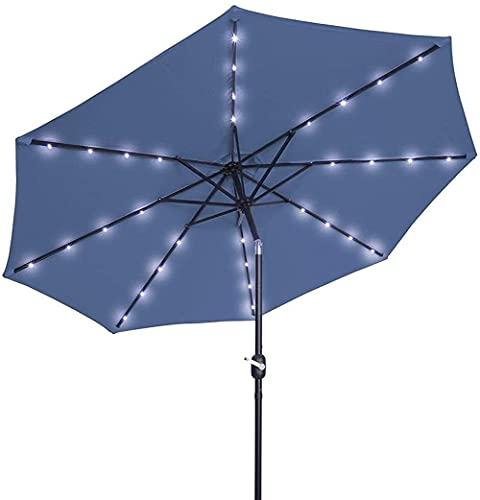 New Sun Sonnenschirm Regenschirm Garten Sonnenschirme 2,5M Kurbel Solar Licht Regenschirm Markt Patio Outdoor-LED-Regenschirme Selbstaufladende LED-Gartenschirm (Farbe:...