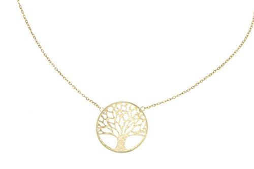 Lucchetta - Baum des Lebens Gold Kette - Damen Kette Gelbgold BaumAnhänger