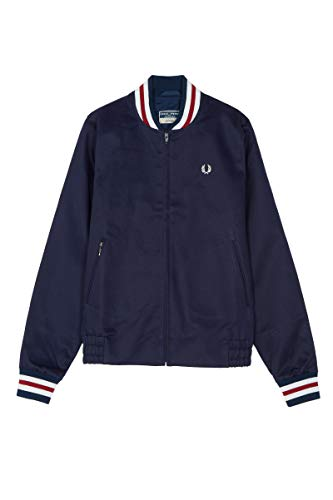 Fred Perry Reissues Made in England Original Tennis Bomber Jacket Navy & Red-40