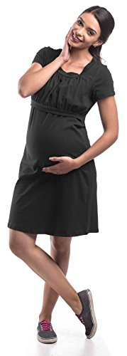 My Bella Mama Empire Waist Maternity Nursing Dress (Small, Black)
