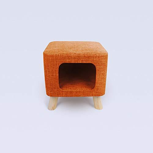 MGWA Cama para perros creativa para gatos de verano Villa semicerrada Gatito de perrera taburete nido suministros para mascotas cuadrado naranja (tamaño S: S)