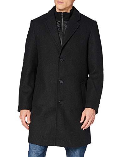 TOM TAILOR Herren Basic Wollmantel, 13124-Dark Grey Wool Jacke, M