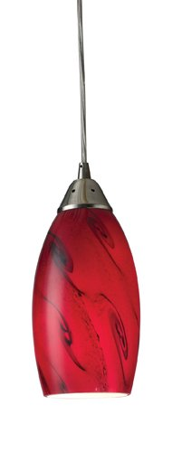 Elk 20001/1RG Galaxy 1-Light Pendant in Red and Satin Nickel Finish