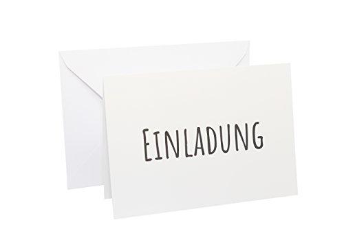10x Einladungskarten - Klappkarten im Postkartenformat DIN A6 mit 10x weißen Umschlägen im Set - Einladung für Hochzeit, Taufe, Geburt, Geburtstag, Baby, Jubiläum