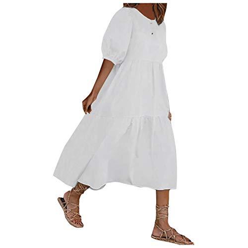 KIMODO Damen Freizeitkleid Boho Lange Kleider V-Ausschnitt Sommerkleider Puff Sleeve Casual Kurzarm Kleid Lässiges Wickelkleid Minikleid Strandkleid (A-Weiß, S)