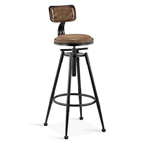 XNLIFE eenvoudige barkruk draaibaar in hoogte verstelbare barstoelen airs ontbijt dinette counter hoge stoel rustiek vintage retro metaal leer industriële stijl zitmeubel, kunstleer buiten voor keuken of bar