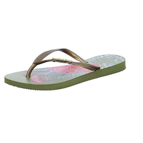 Havaianas Damen Slim Tropical Zehentrenner, Mehrfarbig (Camo Green), 35/36 EU