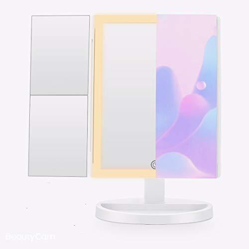 FASCINATE Espejo Maquillaje 3 Modos de Iluminación de Color Espejo de Vanidad 88 LED Espejo Triple Plegable, Control táctil Aumento 1x / 2X / 3X