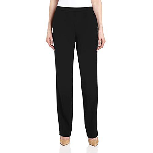Muyise Damen Hohe Taille Solid Lange Hosen Anzughose Plus Size Elastische Taille Tapered Trousers Straight Hosen Haremshose Mit Taschen Slim Freizeithose Pants (Schwarz,S)