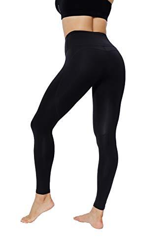 JEPOZRA Pantaloni Donna Sportivi Leggins Push Up Pantalone Vita Alta Abbigliamento Sportivo Pantaloni Elegante Elasticizzati Calzamaglia da Corsa Fitness Yoga Running Sport (XL, Nero)