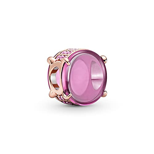 WUXEGHK Plata De Ley 925 Rosa Oval Cabochon Charm Charmbeads Fit Original Pandora Silver 925 Jewelry Making